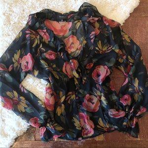 Majorelle   Navy Floral Ruffle Tie Neck Blouse